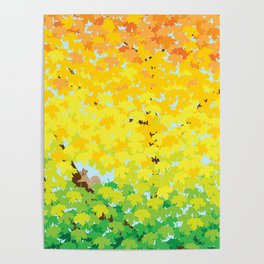 Cute Squirrel in Ombre Maple Tree in Autumn Illustration Poster