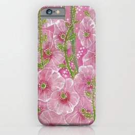 Hollyhock Mallows, Stem Rose, Summer Flowers, Paper Collage iPhone Case