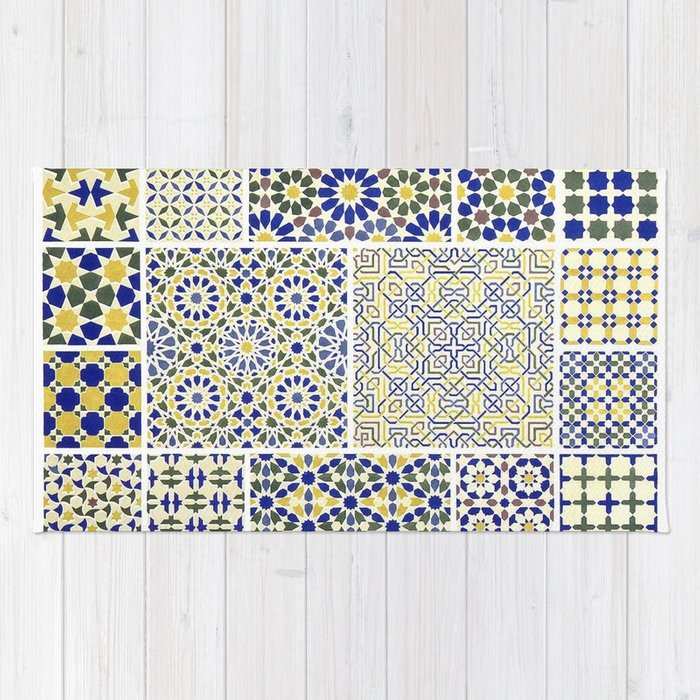 Middle Eastern Tile Patterns In Blue And Yellow Rug By Yaklab Society40 Fascinating Middle Eastern Patterns