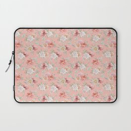 Coral pink green watercolor hand painted floral Laptop Sleeve