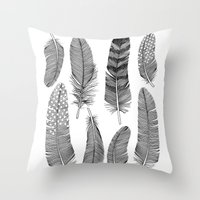 feathers Throw Pillows featuring Feathers by Holly Trill