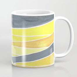 Abstract Waves/Dunes Near Sunset in Yellow & Grey  Coffee Mug