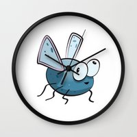 bug Wall Clocks featuring Bug by Massimo Merlini