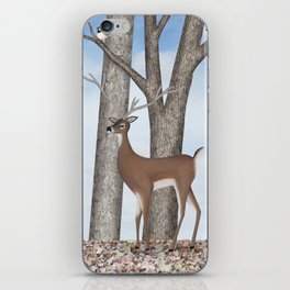 white-tailed deer & chickadees in the forest iPhone Skin