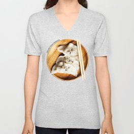 Chinese Dumplings with Chopsticks Unisex V-Neck