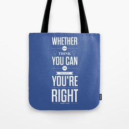 Lab No. 4 - Henry Ford Life Inspirational Typogarphy Quotes Poster Tote Bag