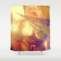 boobs Shower Curtains featuring NUDE BLOND BIG BOOBS LADYKASHMIR HAPPY VALENTINES DAY by ladykashmir goddess