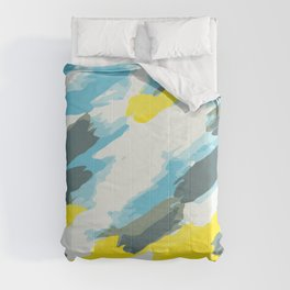 blue grey and yellow painting abstract background Comforters