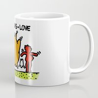 keith haring Mugs featuring Keith Haring & The neighbours by le.duc