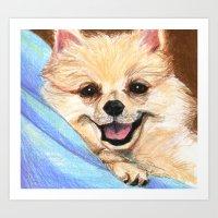 preppy Art Prints featuring Preppy Pomeranian by Britanee LeeAnn Sickles