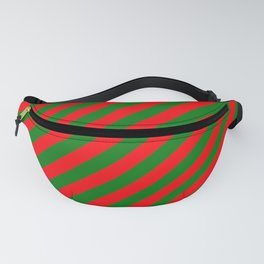 Red and Green Christmas Candycane Stripes Fanny Pack