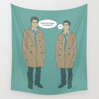 kevin russ Wall Tapestries featuring Cas & Kevin - Supernatural by Justyna Rerak
