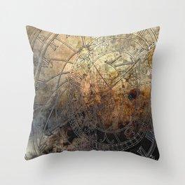 Ancient Astrology Clock Throw Pillow