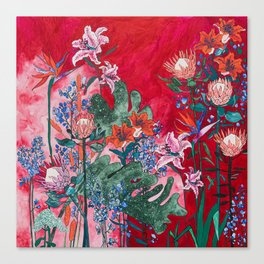 Ruby Red Floral Jungle Canvas Print
