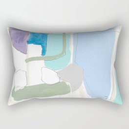 stone by stone 4 - abstract art fresh color turquoise, mint, purple, white, gray Rectangular Pillow