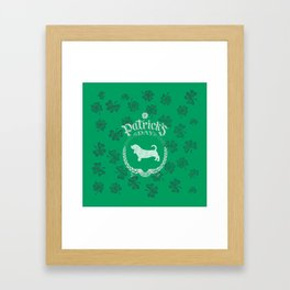 St. Patrick's Day Basset Hound Funny Gifts for Dog Lovers Framed Art Print