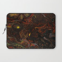 Fluid Art Acrylic Painting, Pour 21, Black, Red, Yellow & Gray Blended Color Laptop Sleeve