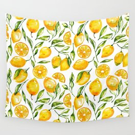 lemon watercolor print Wall Tapestry