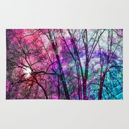 Purple teal forest Rug