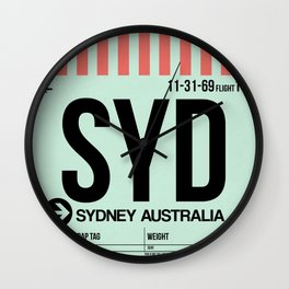 SYD Sydney Luggage Tag 1 Wall Clock