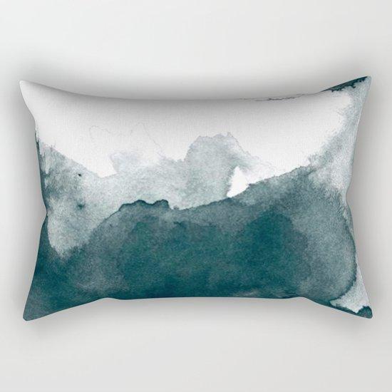 Dark Green Watercolor Marble Rectangular Pillow