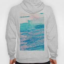 Abstract hand painted blue teal pink watercolor brushstrokes Hoody