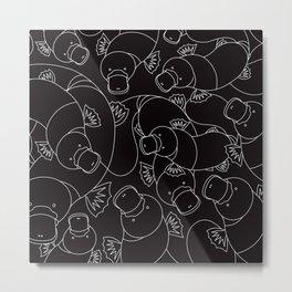 Minimalist Platypus Black and White Metal Print