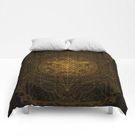 Dark Matter - Gold - By Aeonic Art Comforters