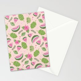 Watermelons on Pink Stationery Cards