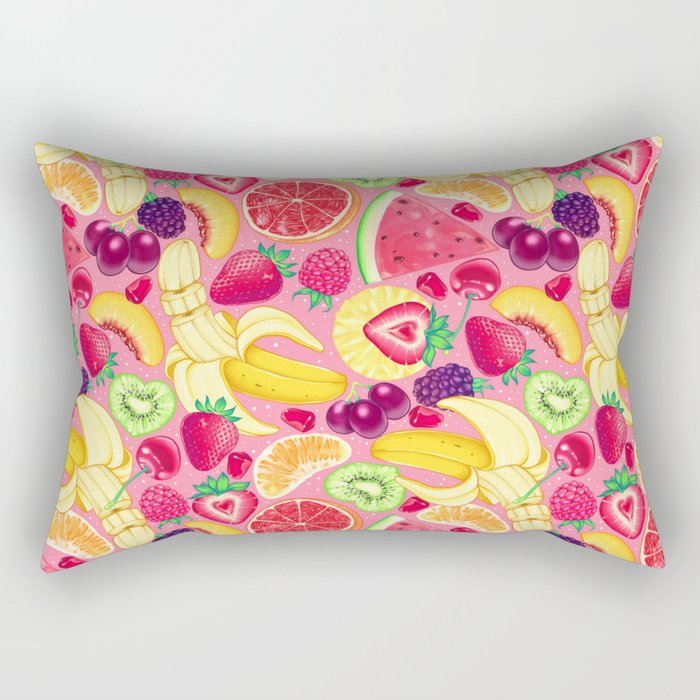 Fruit Cocktail on Pink Rectangular Pillow