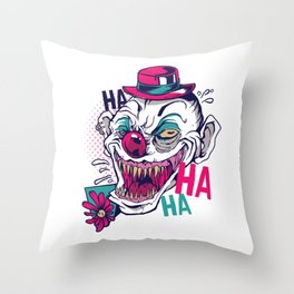 Creppy Clown Throw Pillow