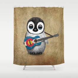 Baby Penguin Playing Colorado Flag Guitar Shower Curtain