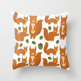 Seamless pattern Set of funny red squirrels with fluffy tail with acorn  on white background Throw Pillow