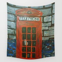 telephone Wall Tapestries featuring London Telephone Booth by RosemaryBurton