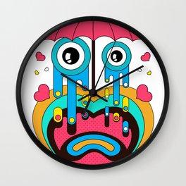 Cute Heart Under Umbrella Wall Clock