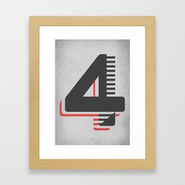 Number 4 Typography Framed Art Print