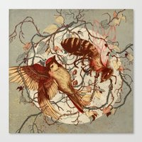 birds Canvas Prints featuring Honey & Sorrow (grey) by Teagan White
