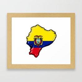 Ecuador Map with Ecuadorian Flag Framed Art Print