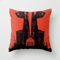 the walking dead Throw Pillows featuring The Walking Dead. by David