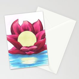 Full Moon Lotus Stationery Cards