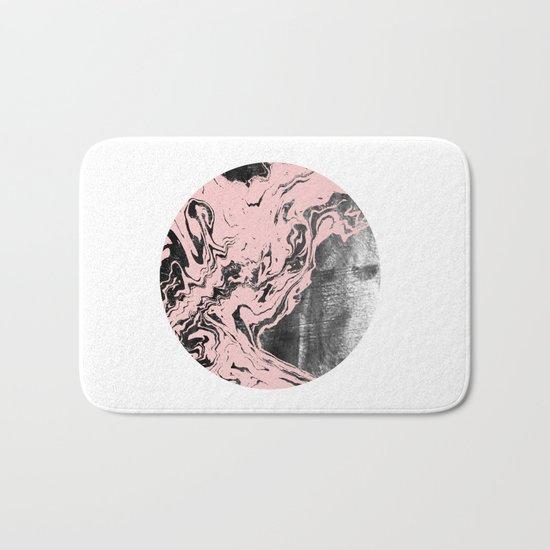 Kennett - abstract marble pink pastel painting boho urban city bklyn black and white modern minimal Bath Mat