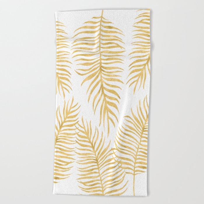 Fern Pattern Gold Beach Towel
