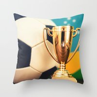 world cup Throw Pillows featuring world cup trophy by franckreporter