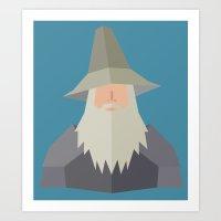 gandalf Art Prints featuring Gandalf by Cristiano Ávila Salomão