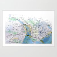 pittsburgh Art Prints featuring Pittsburgh by Jen Joyce