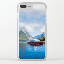 A Boat Cruise at Milford Sound, New Zealand Clear iPhone Case