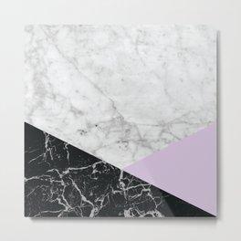 Geometric White Marble - Black Granite & Light Purple #388 Metal Print
