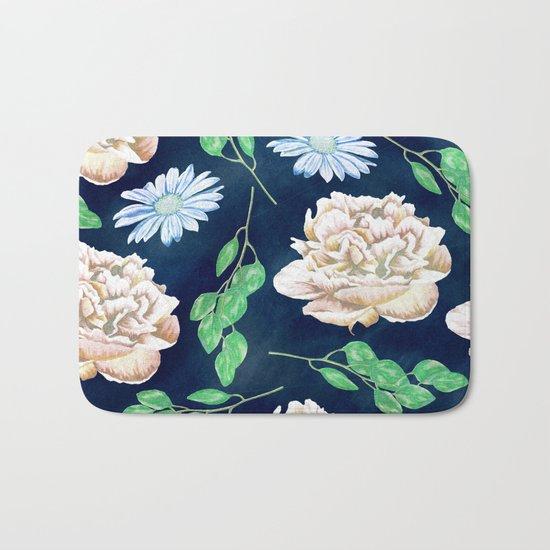 Rose Garden Navy Blue Antique Floral Pattern Bath Mat