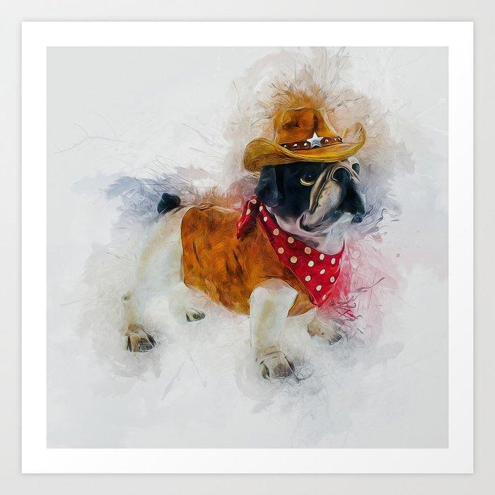 Cowboy Bulldog Art Print By Ianmitchell Society6