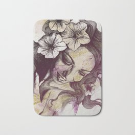 In The Year Of Our Lord: Wine (smiling lady with petunias) Bath Mat